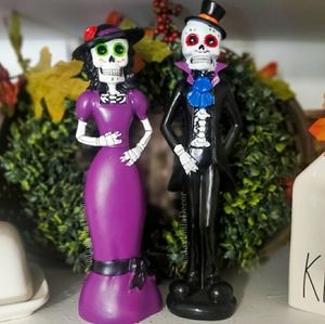 Set of 3 Day Of the Dead Figurines Halloween